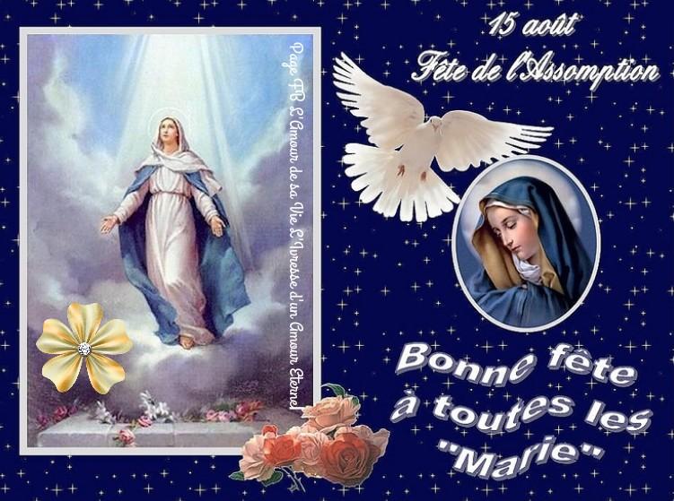 """15 août, Fête de l'Assomption. Bonne fête à toutes les """"Marie"""""""