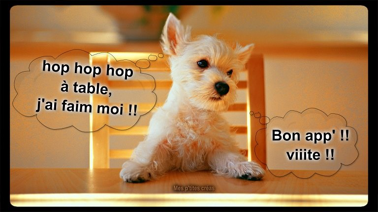 Hop hop hop à table, j'ai faim moi !!