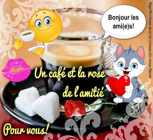 Bonjour les ami(e)s! Un café et la rose de l'amitie