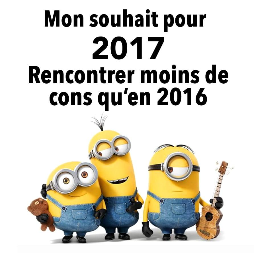 Mon souhait pour 2017... Rencontrer moins de cons qu'en 2016