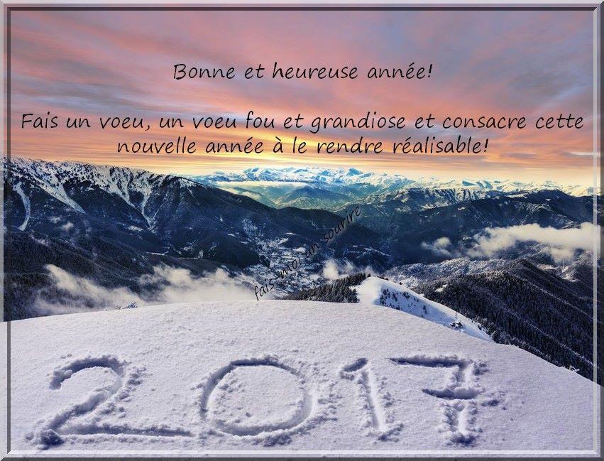 Bonne et heureuse année! Fais un voeu, un voeu fou et grandiose et consacre cette nouvelle année à le rendre réalisable! 2017