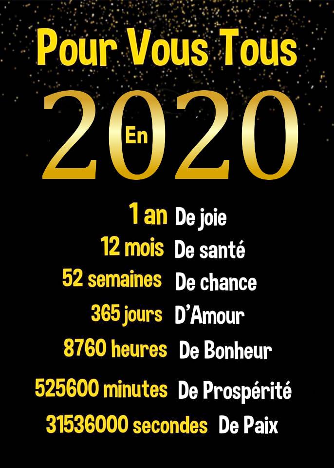 Pour vous tous en 2020. 1 an...