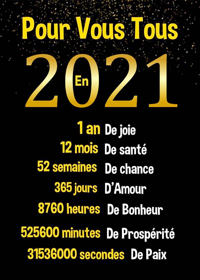Pour vous tous en 2021. 1 an...