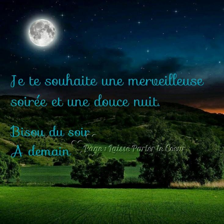 Je te souhaite une merveilleuse soirée et une douce nuit