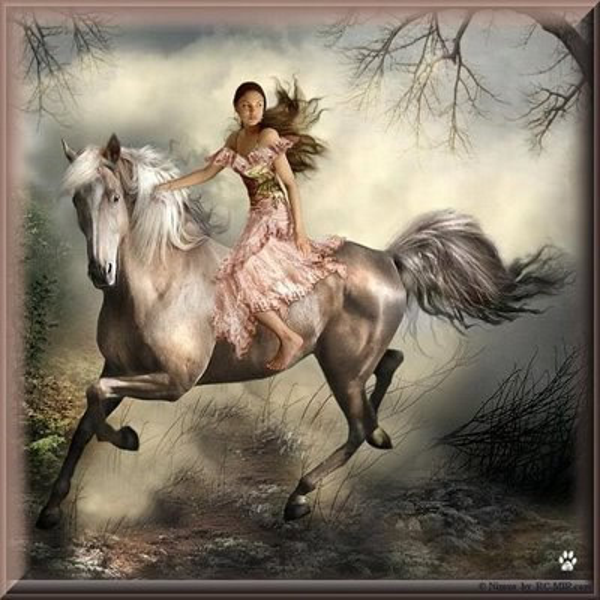 Femme en robe sur cheval féerique