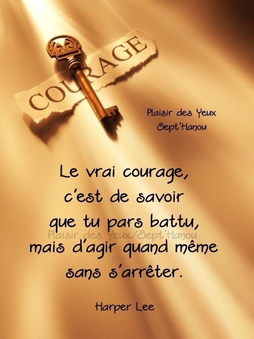 Le vrai courage c'est de savoir que tu pars battu...