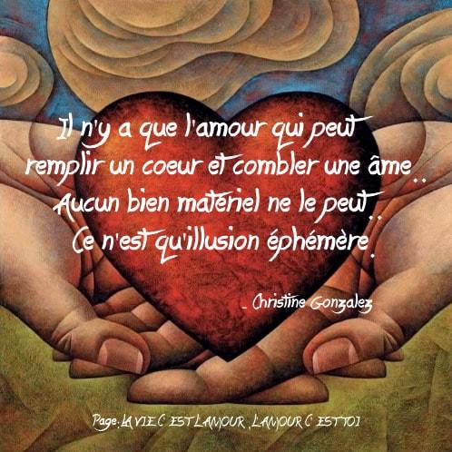 Il n'y a que l'amour qui peut remplir un coeur...