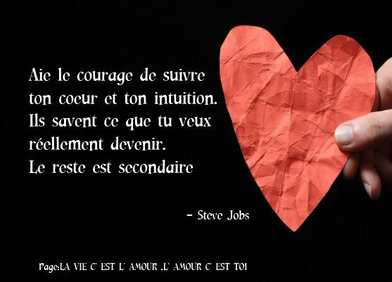 Aie le courage de suivre ton coeur et ton intuition.....