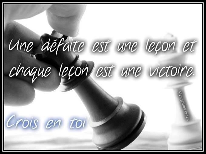 Une défaite est une leçon...