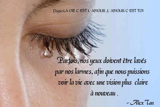 Parfois, nos yeux doivent être lavés par nos larmes...