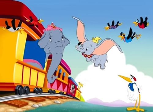 Dumbo vole en suivant le train du cirque