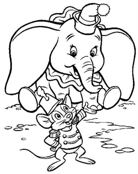 Dumbo et Timothée à colorier