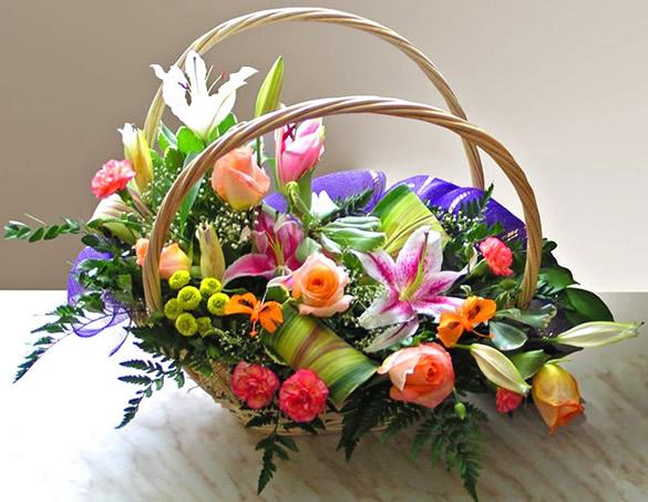 Panier de composition florale