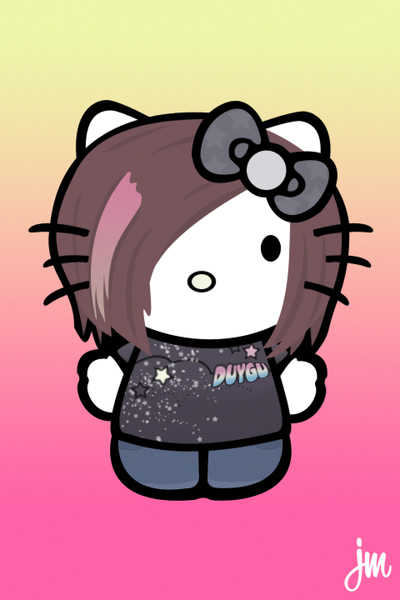 Hello kitty emo sur fond rose