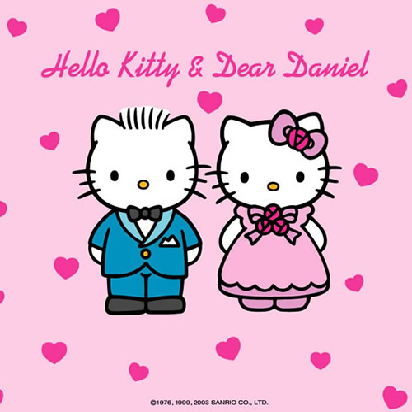 hello-kitty et dear daniel sur fond rose avec des coeurs