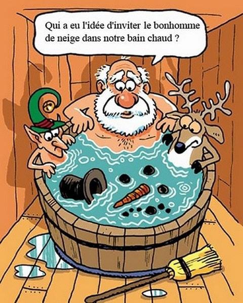 Qui a eu l'idée d'inviter le bonhomme de neige dans notre bain chaud ?